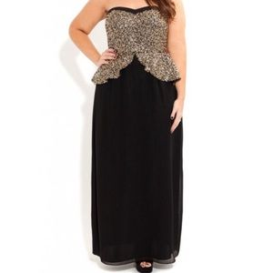 City Chic Gold Black Sequin Peplum Maxi Dress 16